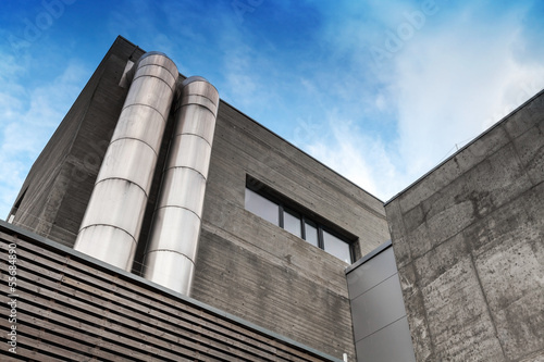 Abstract fragment of gray concrete industrial building