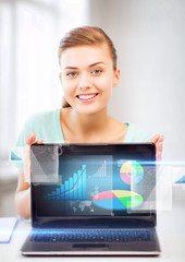 businesswoman showing laptop with graph