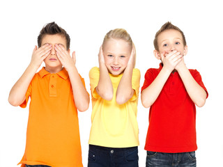 """happy children doing """"See Nothing, Hear Nothing, Say Nothing..."""