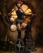 Steampunk Fahrzeug mit einem Mädchen