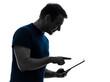 man touchscreen digital tablet  silhouette