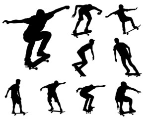skateboarders silhouettes collection - vector