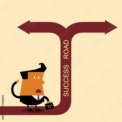 Confused Businessman, Standing at the crossroad