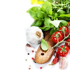 basil and fresh vegetables
