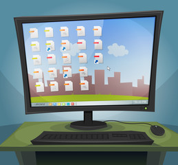 Desktop Computer with Operating System On Screen