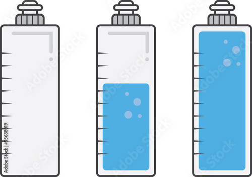 Isolated water bottles filled and empty