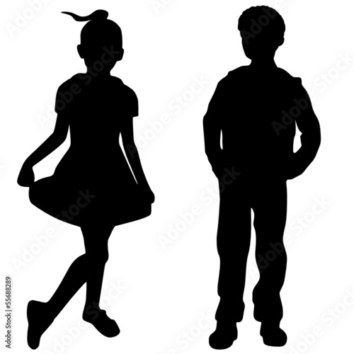 Silhouettes of boy and girl