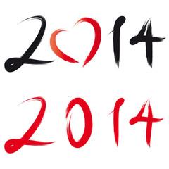 Sylvester - Neujahr 2014 mit Herz - Pinselstrich