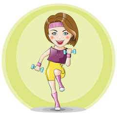 Girl jumping with dumbbells
