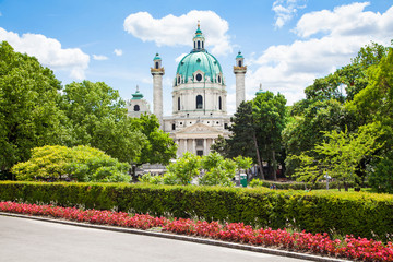 Famous Saint Charles's Church (Karlskirche) in Vienna, Austria