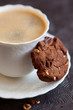 Chocolate and hazelnuts cookies with coffee