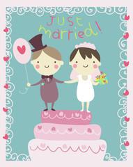 coppia di sposi cartolina con testo