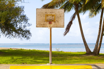 Basketball Field in tropical beach