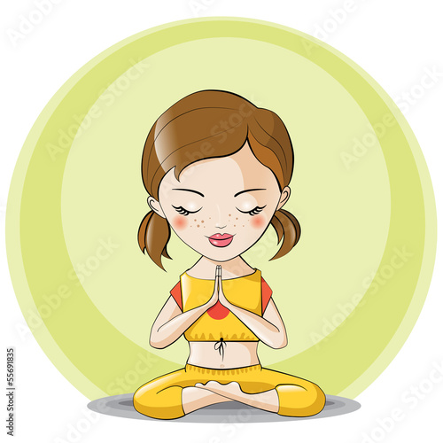 athletic girl in yoga pose meditating