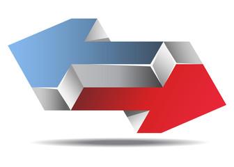 Impossible Arrows Logo Icon Sign, Vector Illustration.
