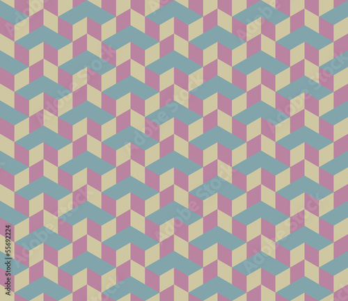 3d Cube Vector Seamless Pattern.