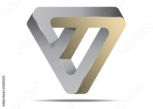 Impossible Triangle Logo Icon Sign, Abstract Vector Illustration