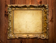 grunge wood background with  vintage frame