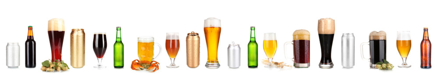 Lots of beer in different containers isolated on white