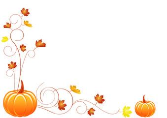Halloween - frise d'automne avec citrouilles