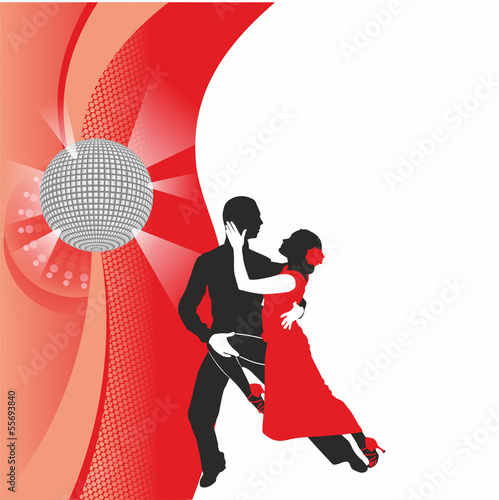 red background with dancing couple1