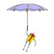 Подарочная коробка в виде робота летит с зонтом