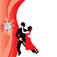 red background with dancing couple