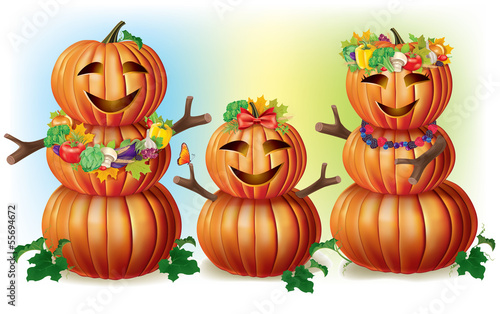Happy Pumpkin Family