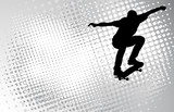 skateboarder on the abstract halftone background - vector