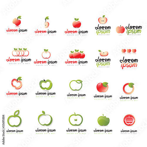 Apple Icons Set - Isolated On White Background