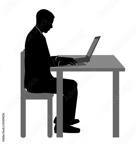 young man working on his laptop - vector