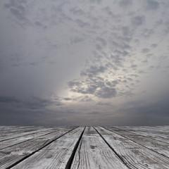 floor and somber sky