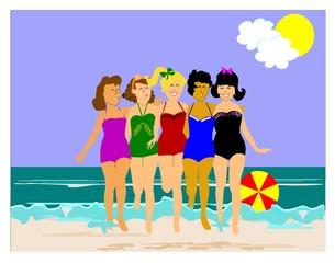 5 retro ladies on the beach having fun