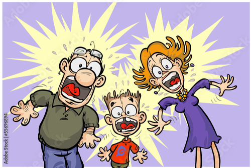 Cartoon shocked Family. All in separated layers.