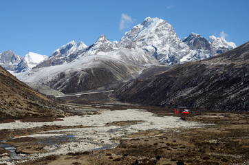 Himalayan valley and rescue helicopter,Nepal, Everest region, As