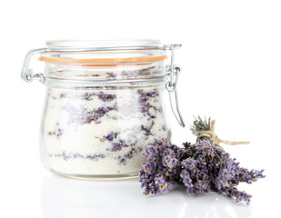 Jar of lavender sugar, isolated on white