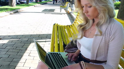 Beautiful young woman in park typing message on laptop social