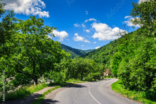winding village road in mountains
