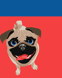 Funny illustration of a Pug dog