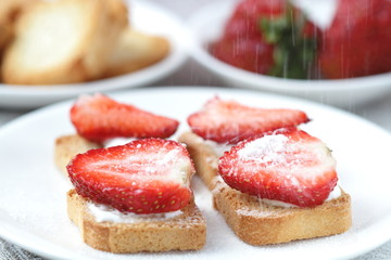 Toast with strawberry