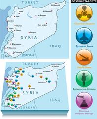 Cartina Siria attacco militare possibili obiettivi