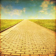 Grunge image of stone pathway in the field. - 55699832