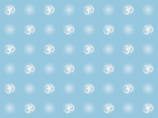 blue abstract seamless pattern with om sign