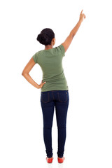 rear view of african american woman pointing