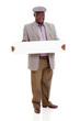 senior african man holding blank white board