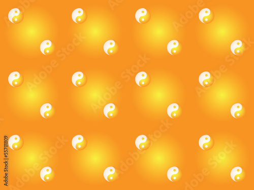 orange seamless pattern with yin yang symbols