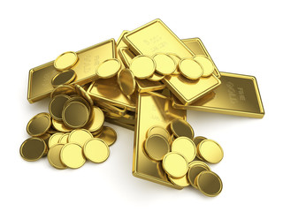Golden bars and coins isolated