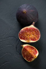 Still life fruits: figs, view from above, studio shot