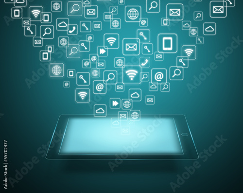 Touch screen tablet with cloud of application icons