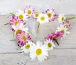 Herz aus Gänseblümchen und Margeriten auf weißem Holz